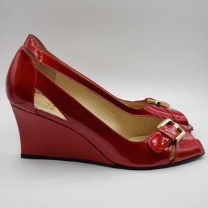 Stuart Weitzman red patent wedge heels Size 9M